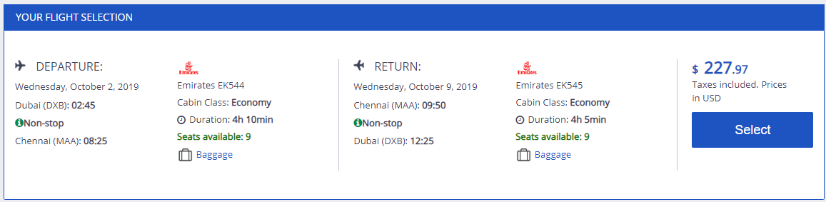 Non-stop from Dubai, UAE to Chennai, India for only $227 USD