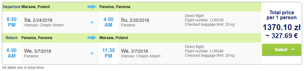 EXPIRED** LAST SECOND: Non-stop from Warsaw, Poland to Panama City