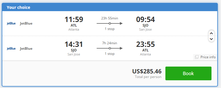 SUMMER Atlanta To San Jose Costa Rica For Only 285 Roundtrip Min 2 Pax