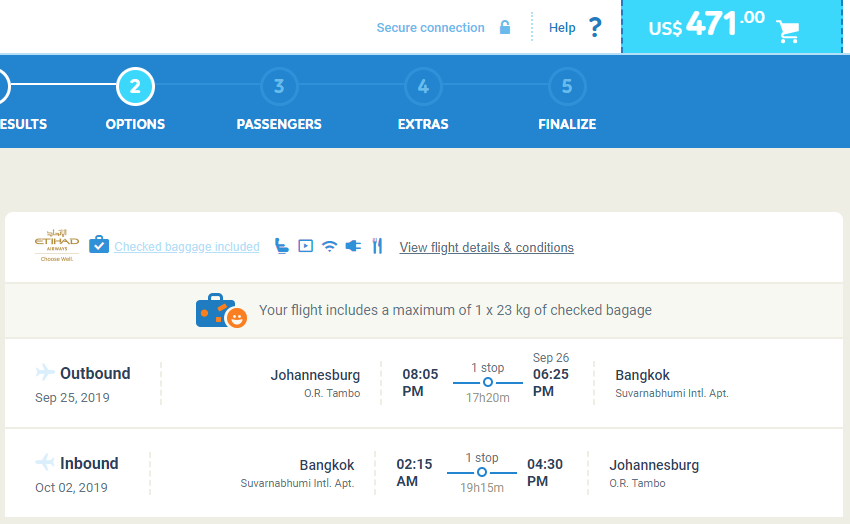 Johannesburg South Africa To Bangkok Thailand For Only