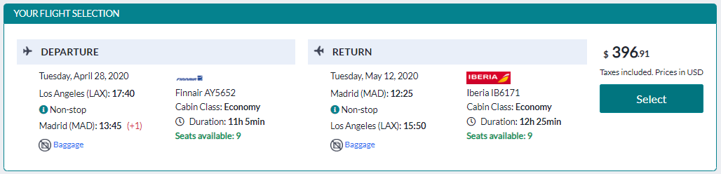 flights to madrid from lax