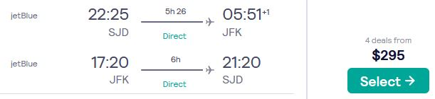 Non-stop, summer flights from San Jose del Cabo, Mexico to New York, USA for only $295 USD roundtrip with JetBlue. Flight deal ticket image.