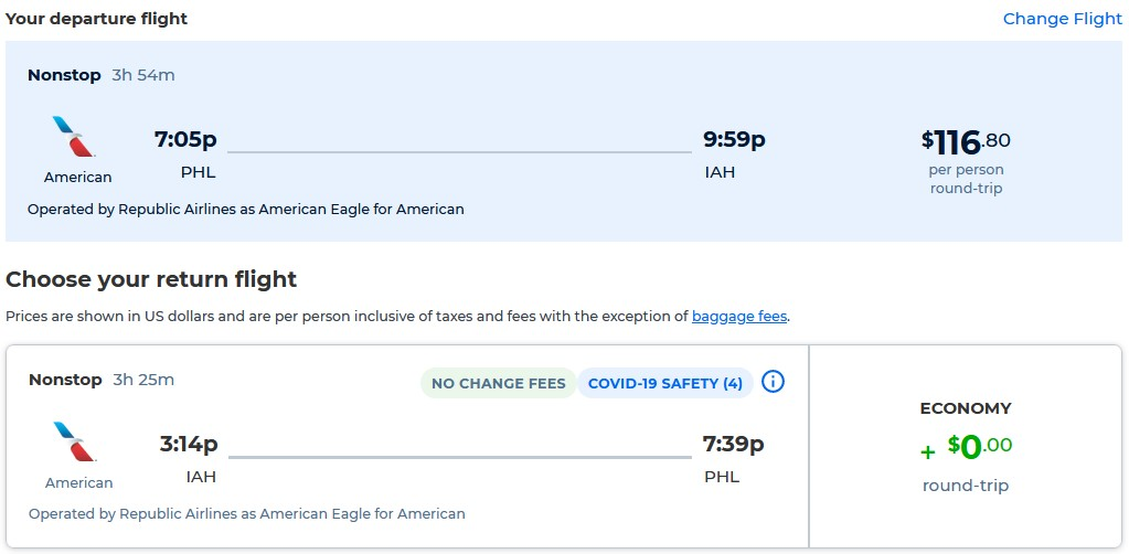 Non-stop flights from Philadelphia to Houston, Texas for only $116 roundtrip with American Airlines. Also works in reverse. Flight deal ticket image.