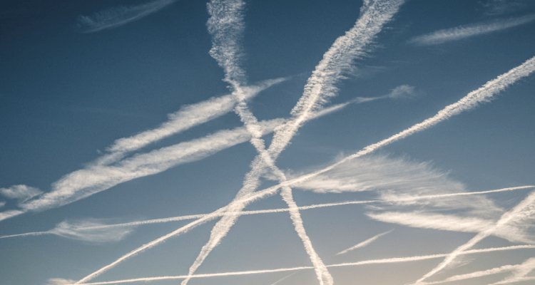 traces of planes in sky