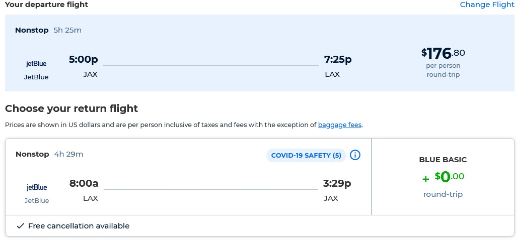 Non-stop flights from  Jacksonville, Florida to Los Angeles for only $176 roundtrip with JetBlue. Flight deal ticket image.