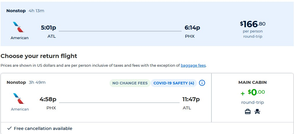 Non-stop, summer flights from Atlanta to Phoenix, Arizona for only $166 roundtrip with American Airlines. Also works in reverse. Flight deal ticket image.