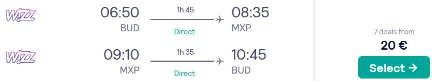 Non-stop, summer flights from Budapest, Hungary to Milan, Italy for only €20 roundtrip. Flight deal ticket image.