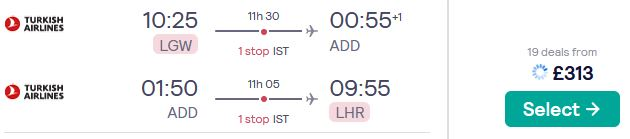 Cheap flights from London, UK to Addis Ababa, Ethiopia for only £313 roundtrip with Turkish Airlines. Flight deal ticket image.
