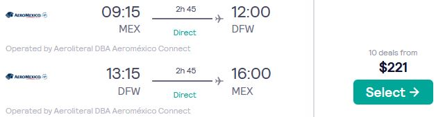 Non-stop flights from Mexico City, Mexico to Dallas, Texas for only $221 USD roundtrip with Aeromexico. Flight deal ticket image.