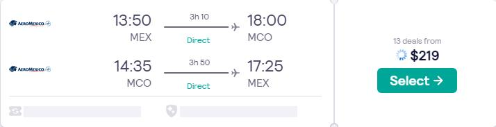 Non-stop flights from Mexico City, Mexico to Orlando, Florida for only $219 USD roundtrip with Aeromexico. Flight deal ticket image.