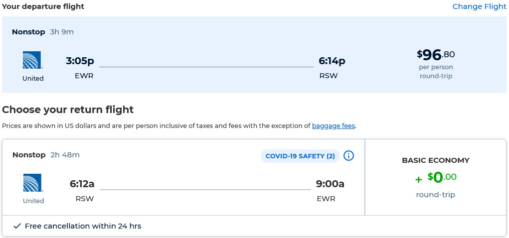 Non-stop flights from New York to Fort Myers, Florida for only $96 roundtrip with United Airlines. Also works in reverse. Flight deal ticket image.