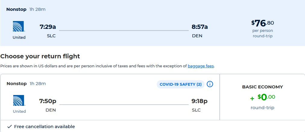 Non-stop flights from Salt Lake City, Utah to Denver, Colorado for only $76 roundtrip with United Airlines. Also works in reverse. Flight deal ticket image.