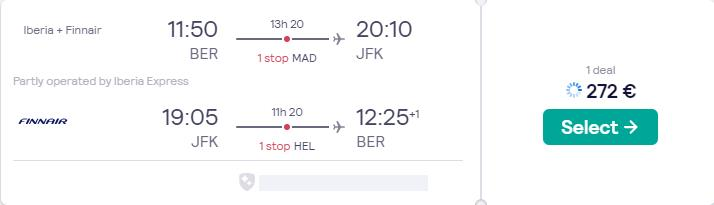 New Year flights from German cities to New York, USA from only €272 roundtrip with Iberia and Finnair. Flight deal ticket image.