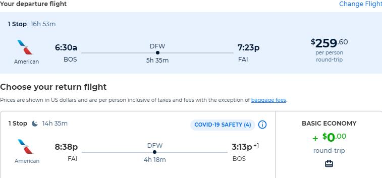Cheap flights from Boston to Fairbanks, Alaska for only $259 roundtrip with American Airlines. Also works in reverse. Flight deal ticket image.