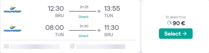 Non-stop flights from Brussels, Belgium to Tunis, Tunisia for only €90 roundtrip. Flight deal ticket image.
