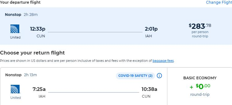 Non-stop, Christmas and New Year flights from Cancun, Mexico to Houston, Texas for only $283 USD roundtrip with United Airlines. Flight deal ticket image.