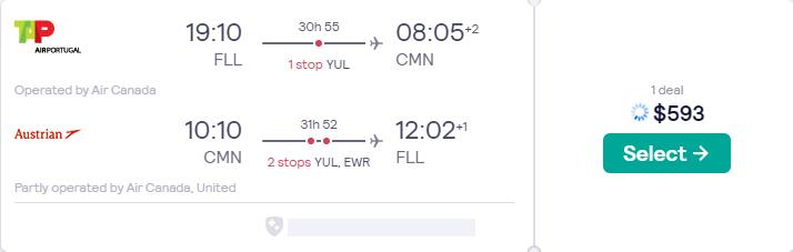 Cheap flights from Fort Lauderdale to Casablanca, Morocco for only $593 roundtrip with Air Canada, TAP Air Portugal, Austrian Airlines and United Airlines. Flight deal ticket image.