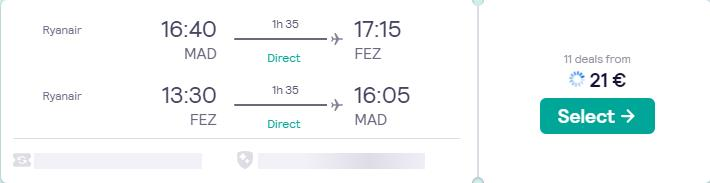 Non-stop flights from Madrid, Spain to Fez, Morocco for only €21 roundtrip. Flight deal ticket image.
