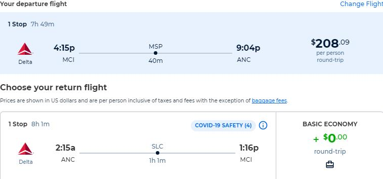 Cheap flights from Kansas City to Anchorage, Alaska for only $208 roundtrip with United Airlines. Also works in reverse. Flight deal ticket image.