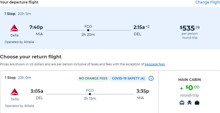 Cheap flights from Miami to Delhi, India for only $535 roundtrip with Delta Air Lines. Flight deal ticket image.