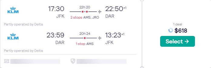 Cheap flights from New York to Dar Es Salaam, Tanzania for only $618 roundtrip with Delta Air Lines and KLM. Flight deal ticket image.