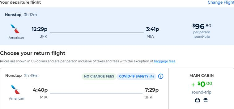 Non-stop flights from New York to Miami for only $96 roundtrip with American Airlines. Also works in reverse. Flight deal ticket image.