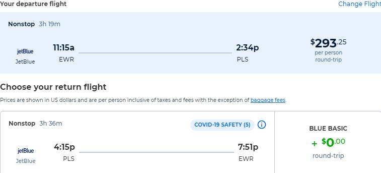 Non-stop flights from New York to Turks and Caicos for only $293 roundtrip with JetBlue. Flight deal ticket image.