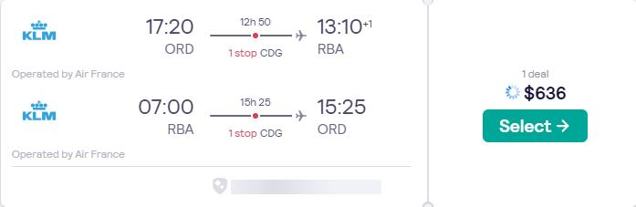 Cheap flights from Chicago to Rabat, Morocco for only $636 roundtrip with Air France. Flight deal ticket image.