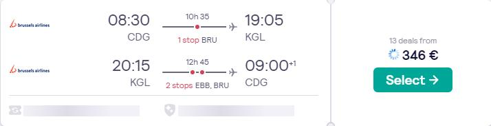 Summer flights from Paris, France to Kigali, Rwanda for only €346 roundtrip with Brussels Airlines. Flight deal ticket image.