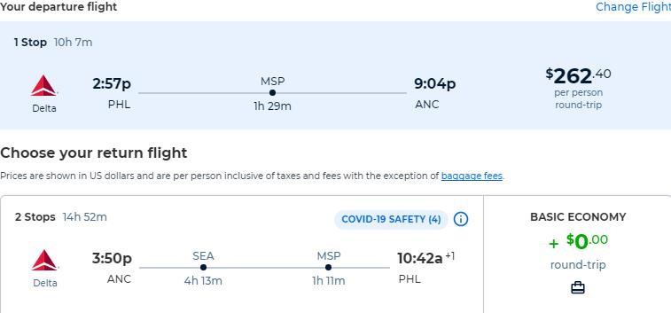 Cheap flights from Philadelphia to Anchorage, Alaska for only $262 roundtrip with United Airlines. Also works in reverse. Flight deal ticket image.