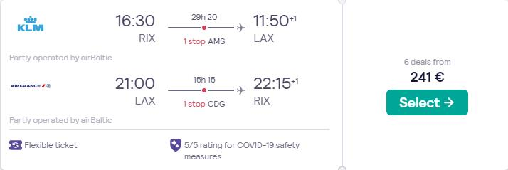 Cheap flights from the Baltics to Los Angeles, USA from only €241 roundtrip with KLM and Air France. Flight deal ticket image.