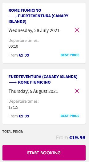 Summer, non-stop from rome, italy to fuerteventura, spain for only €19 roundtrip. Flight deal ticket image.