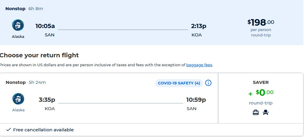 Non-stop flights from San Diego to Kona, Hawaii for only $198 roundtrip with Alaska Airlines. Also works in reverse. Flight deal ticket image.