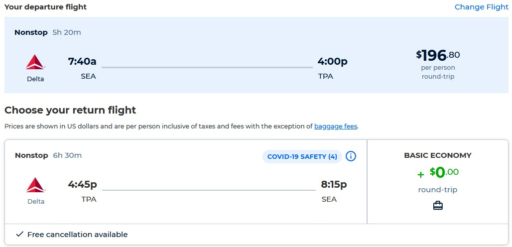 Non-stop flights from Seattle to Tampa, Florida for only $196 roundtrip with Delta Air Lines. Also works in reverse. Flight deal ticket image.