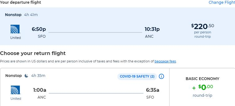 Non-stop, summer flights from San Francisco to Anchorage, Alaska for only $220 roundtrip with United Airlines. Also works in reverse. Flight deal ticket image.