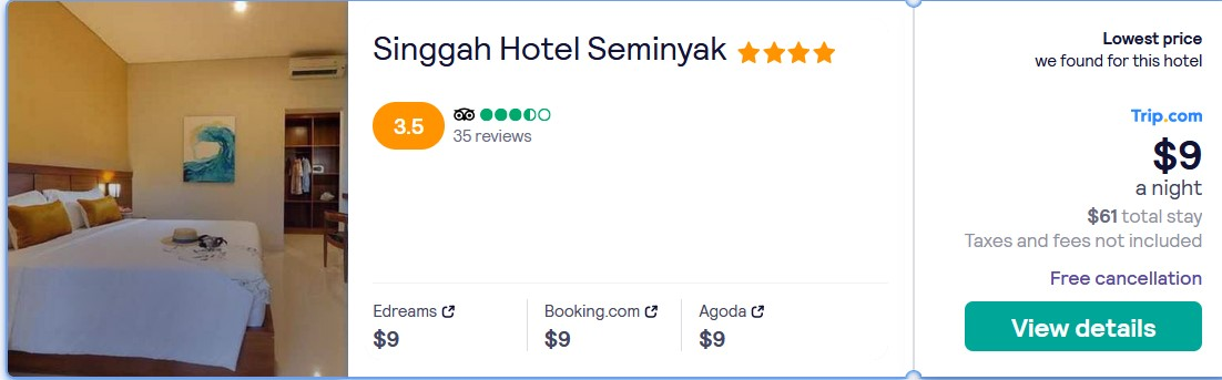 Stay at the 4* Singgah Hotel Seminyak in Bali, Indonesia for only $9 USD per night over Christmas. Flight deal ticket image.