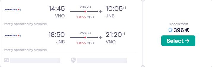 Summer flights from Vilnius, Lithuania to Johannesburg, South Africa for only €396 roundtrip with Air France. Flight deal ticket image.