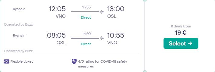 Non-stop, summer flights from Vilnius, Lithuania to Oslo, Norway for only €19 roundtrip. Flight deal ticket image.