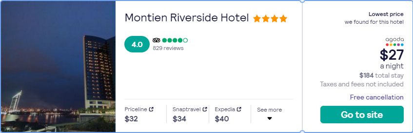 Stay at the 4* Montien Riverside Hotel in Bangkok, Thailand for only $27 USD per night over Christmas. Flight deal ticket image.