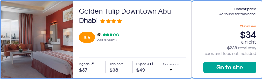 Stay at the 4* Golden Tulip Downtown Abu Dhabi in Abu Dhabi, UAE for only $34 USD per night. Flight deal ticket image.