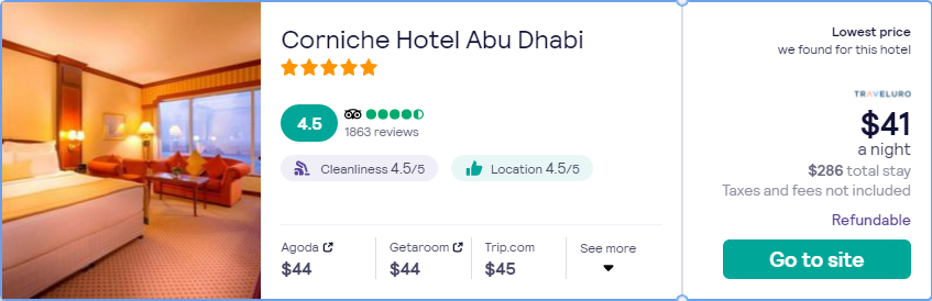 Stay at the 5* Corniche Hotel Abu Dhabi in Abu Dhabi, UAE for only $40 USD per night. Flight deal ticket image.