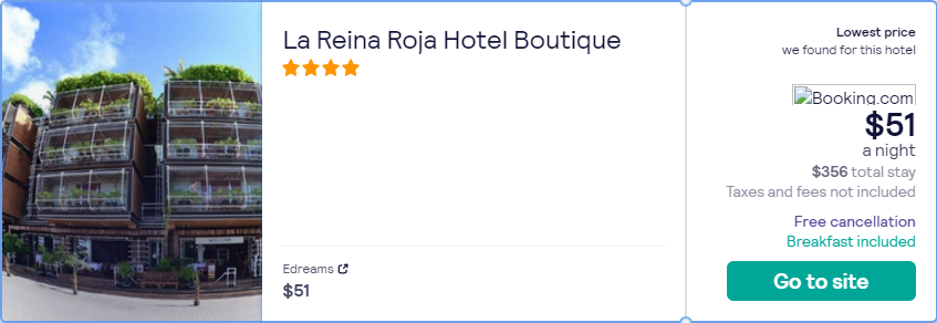 Stay at the 4* La Reina Roja Hotel Boutique in Playa del Carmen, Mexico for only $51 USD per night. Flight deal ticket image.