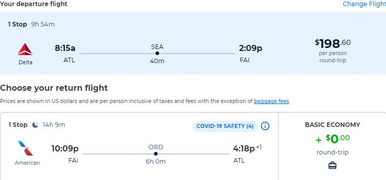 Summer flights from Atlanta to Fairbanks, Alaska for only $198 roundtrip with American Airlines. Also works in reverse. Flight deal ticket image.