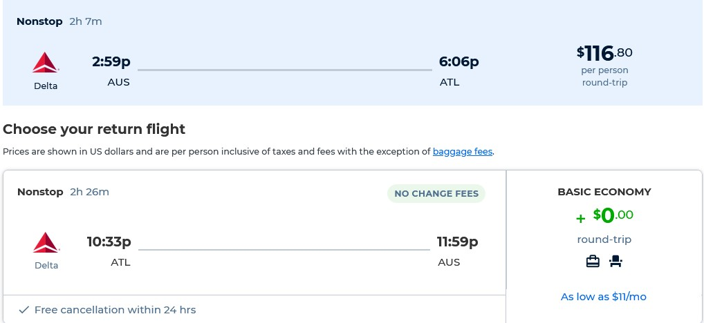 Non-stop flights from Austin, Texas to Atlanta for only $116 roundtrip with Delta Air Lines. Also works in reverse. Flight deal ticket image.