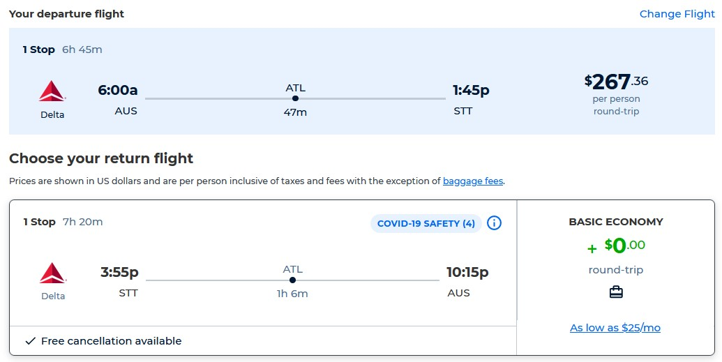 Summer flights from Austin, Texas to the US Virgin Islands for only $267 roundtrip with Delta Air Lines. Flight deal ticket image.