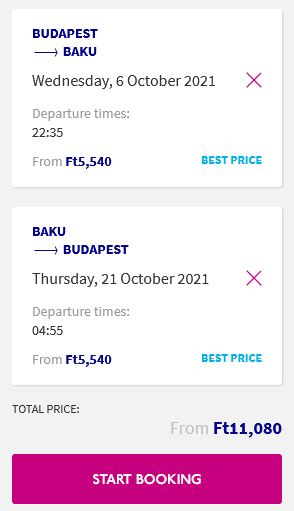 Non-stop flights from Budapest, Hungary to Baku, Azerbaijan for only €30 roundtrip. Flight deal ticket image.