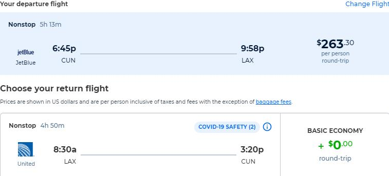 Non-stop flights from Cancun, Mexico to Los Angeles, USA for only $263 USD roundtrip with United Airlines and JetBlue. Flight deal ticket image.