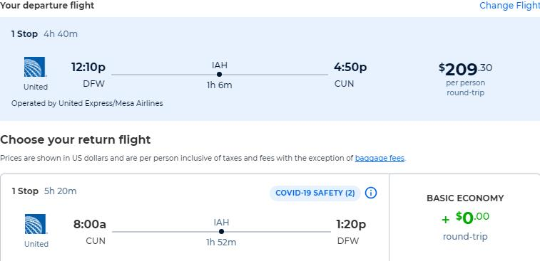 Summer flights from Dallas, Texas to Cancun, Mexico for only $209 roundtrip with United Airlines. Flight deal ticket image.
