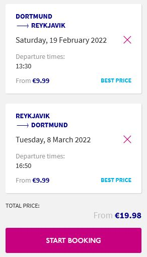 Non-stop flights from Dortmund, Germany to Reykjavik, Iceland for only €19 roundtrip. Flight deal ticket image.