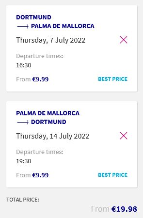 Non-stop flights from Dortmund, Germany to Palma de Mallorca, Spain for only €19 roundtrip. Flight deal ticket image.